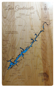 Lake Guntersville, Alabama - Laser Cut Wood Map