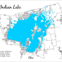 Indian Lake, Ohio - Laser Cut Wood Map