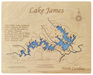 Lake James, NC - Laser Cut Wood Map