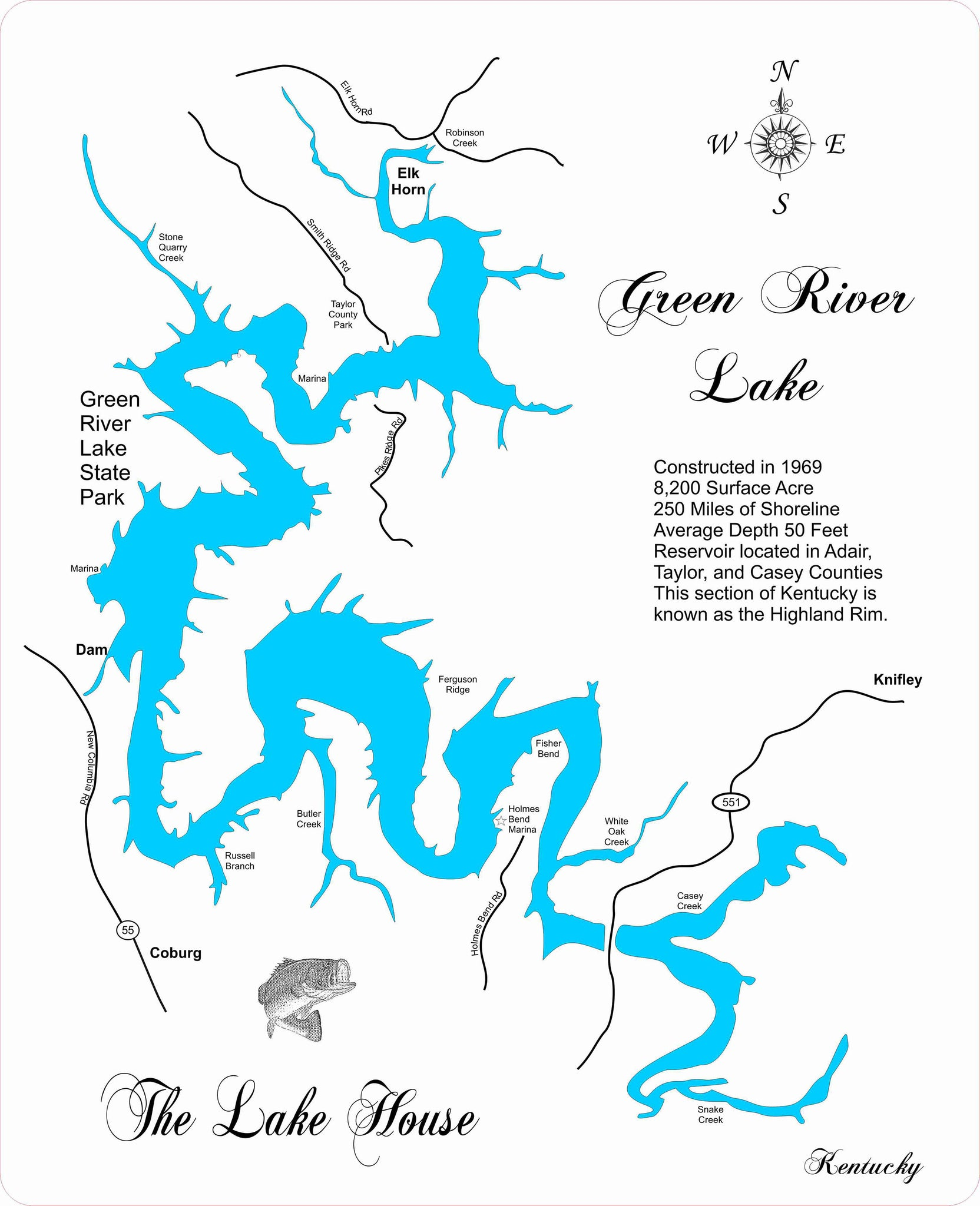 Green River Lake, KY - Laser Cut Wood Map