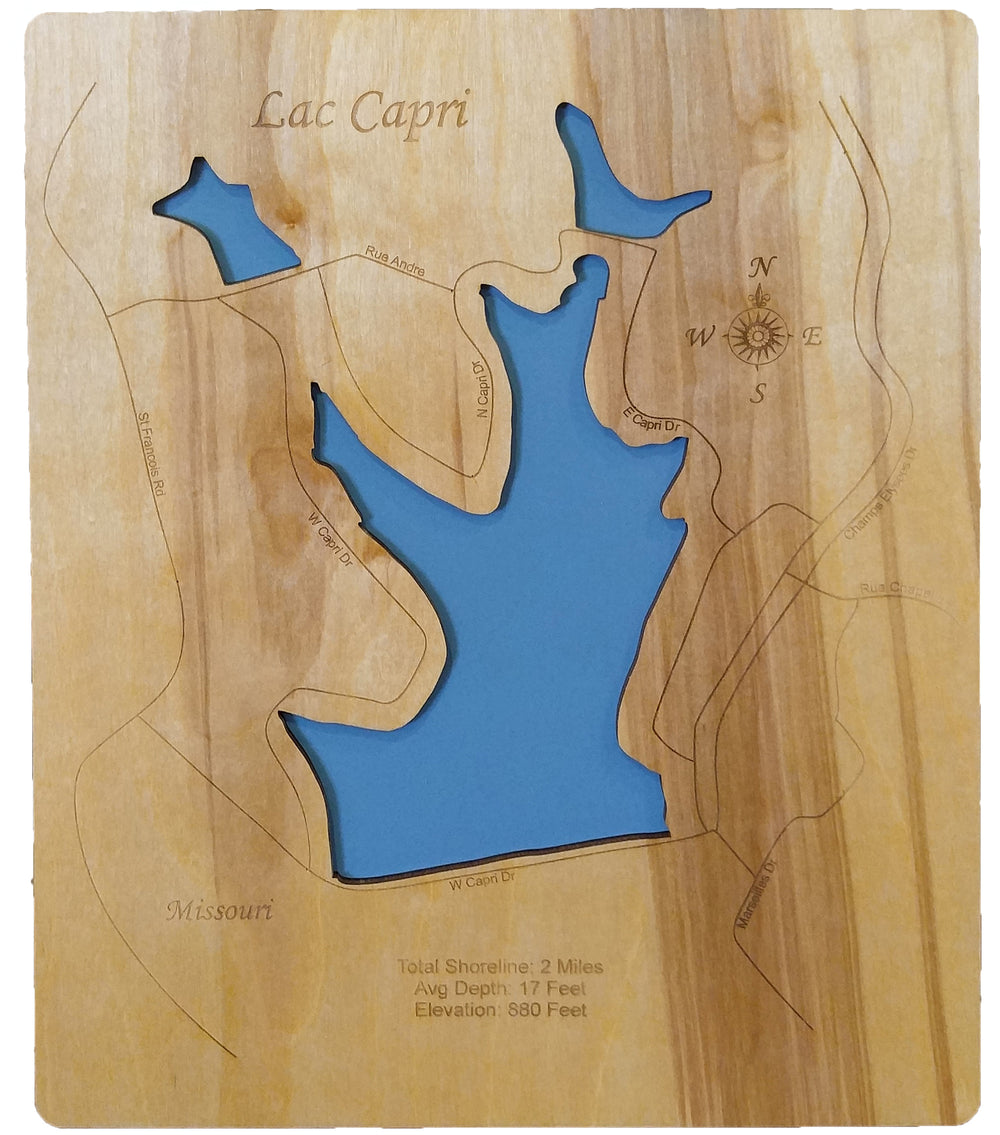 Lac Capri, Missouri - Laser Cut Wood Map