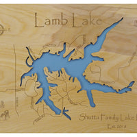 Lamb Lake, Indiana - Laser Cut Wood Map