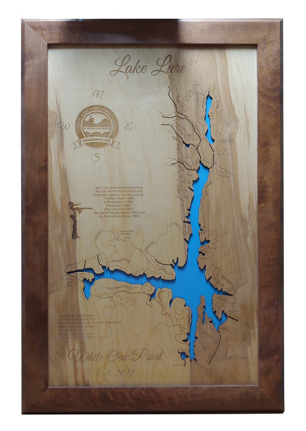 Lake Lure, NC - Laser Cut Wood Map