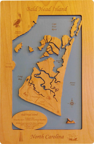 Bald Head Island, North Carolina - Wood Laser Cut Map