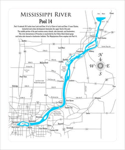 Mississippi River Pool 14 - Laser Cut Wood Map