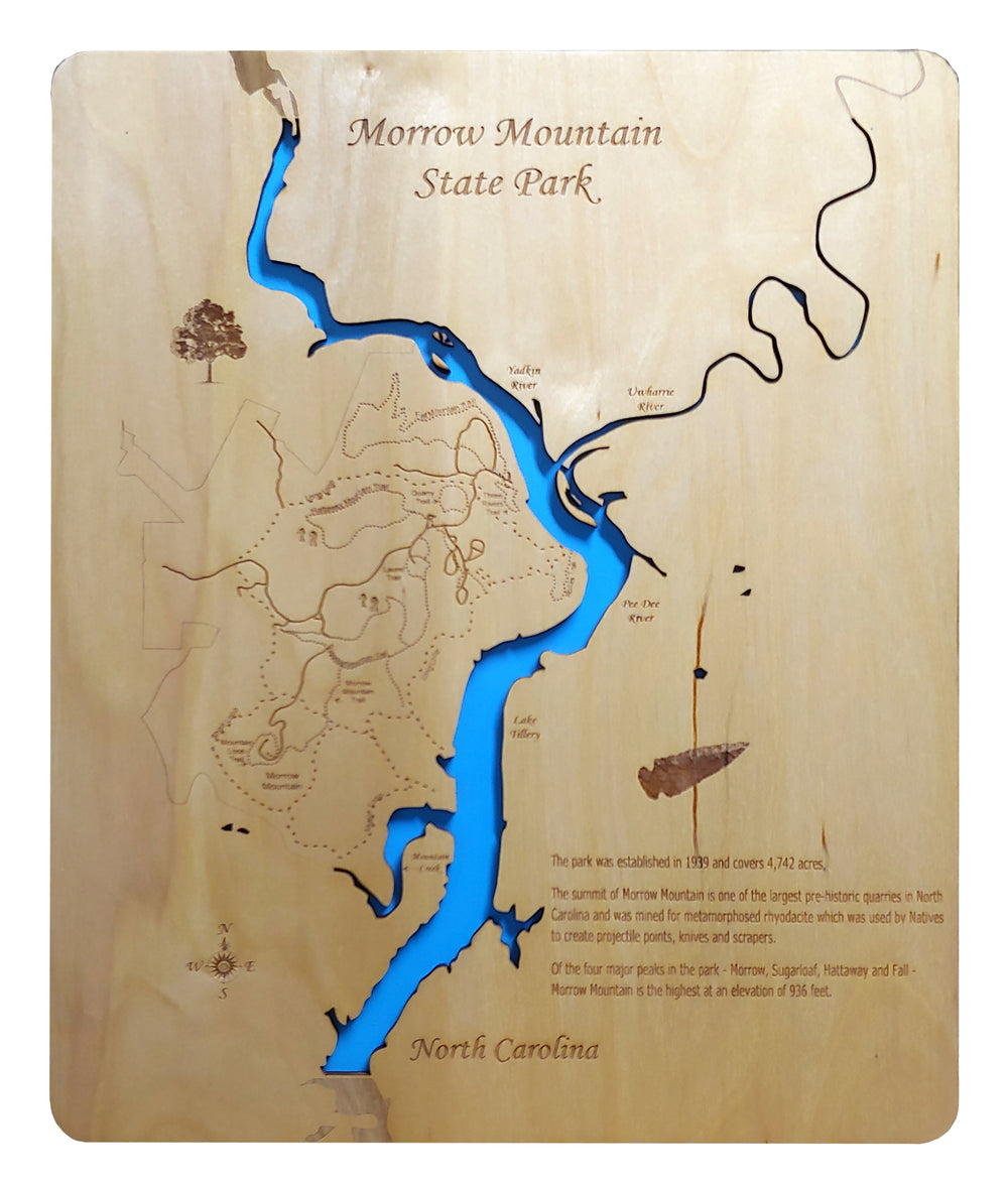 Morrow Mountain State Park, North Carolina  - Laser Cut Wood Map