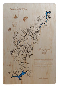 Nantahala River Gorge, NC - Laser Cut Wood Map