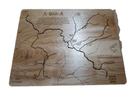 North Platte River, Wyoming - Laser Cut Wood Map