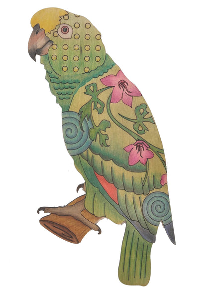Adult Coloring - Wood Parrot - Personal Handcrafted Displays
