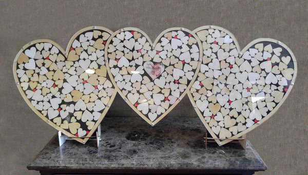 Triple Heart Drop Guest Book
