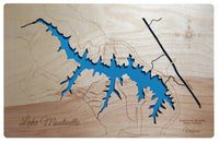Lake Monticello, Virginia - Laser Cut Wood Map