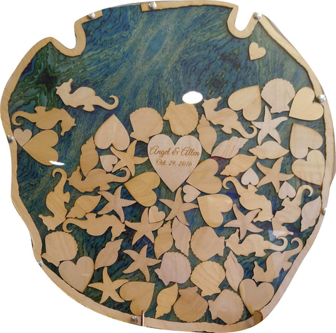 Sand Dollar Guest Book Wood Shadow Box with Multi-sized Signing Charms