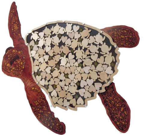 Sea Turtle Guest Book Wood Shadow Box with Multi-sized Signing Charms