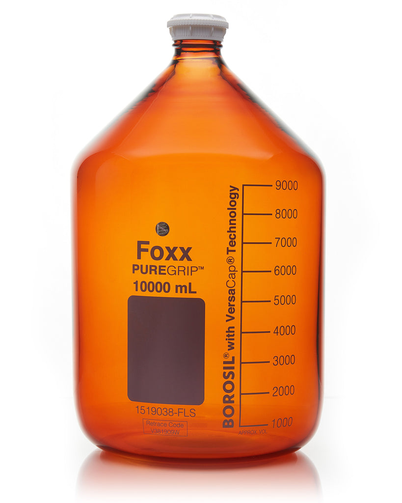 PUREGRIP® Bottles - Reagent - Amber Graduated with GL45 Screw Cap and Pouring Ring - 10000mL - 1EA
