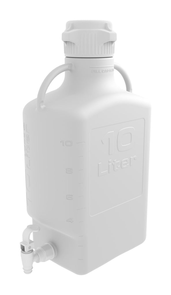 Pharma-Grade 10L (2.5 Gal) HDPE Carboy with 83mm Cap and Spigot