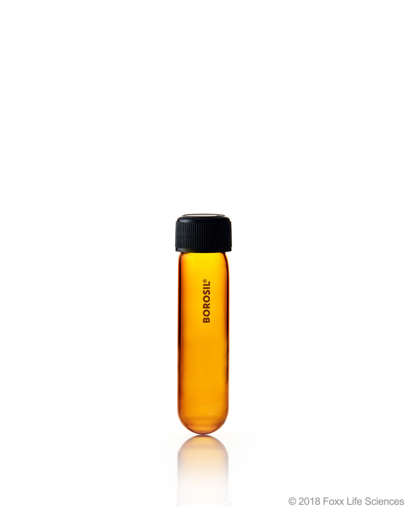 Borosil® Amber Culture Tubes Media Round Bottom PP cap with Liner 30 mL Borosilicate CS/100