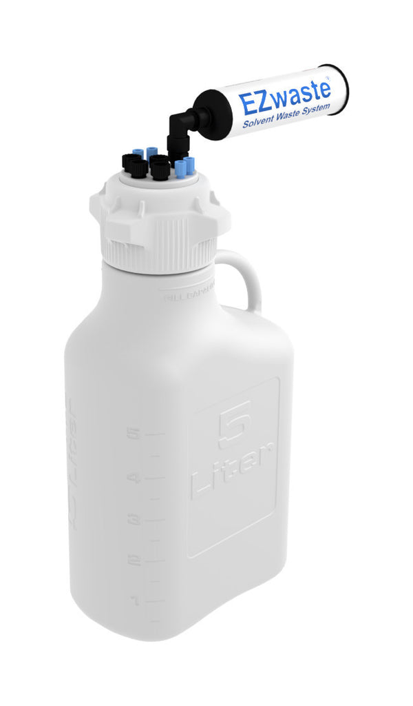 "EZwaste® Safety Vent Carboy 5L HDPE with VersaCap® 83mm, 4 ports for 1/8"" OD Tubing, 4 ports for 1/4"" OD Tubing"