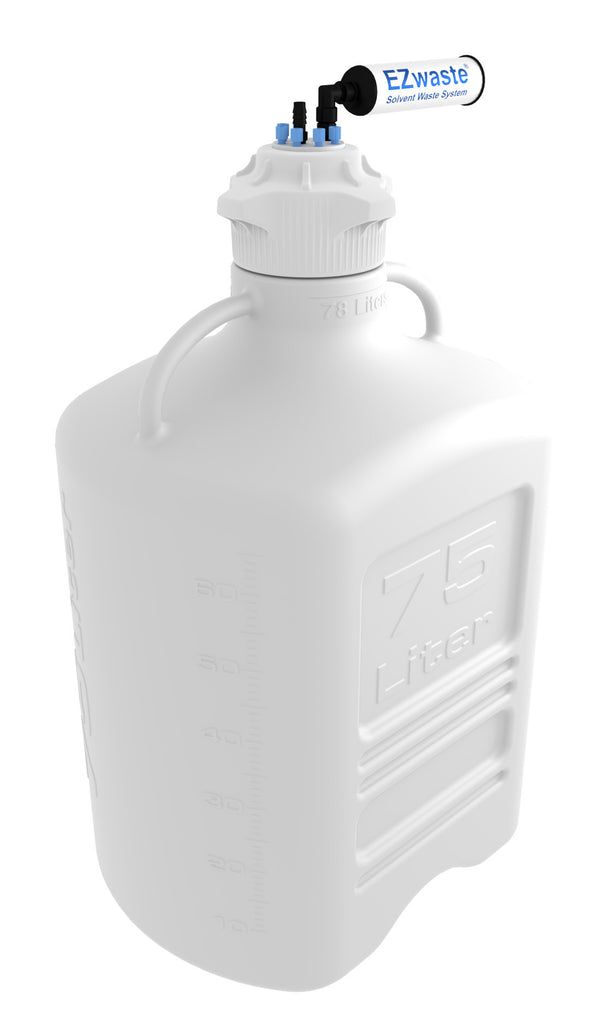 "EZwaste® XL Safety Vent Carboy 75L HDPE with VersaCap® 120mm, 6 Ports for 1/8"" OD Tubing, 1 Port for 1/4"" HB or 3/8"" HB Adapter  and a Chemical Exhaust Filter"