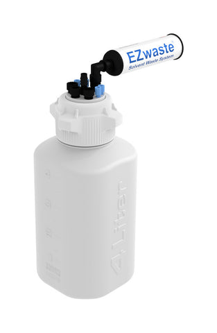 "EZwaste® Safety Vent Bottle 4L HDPE with VersaCap® 83mm, 4 ports for 1/8"" OD Tubing, 3 ports for 1/4"" OD Tubing, 1 port for 1/4"" HB or 3/8"" HB"