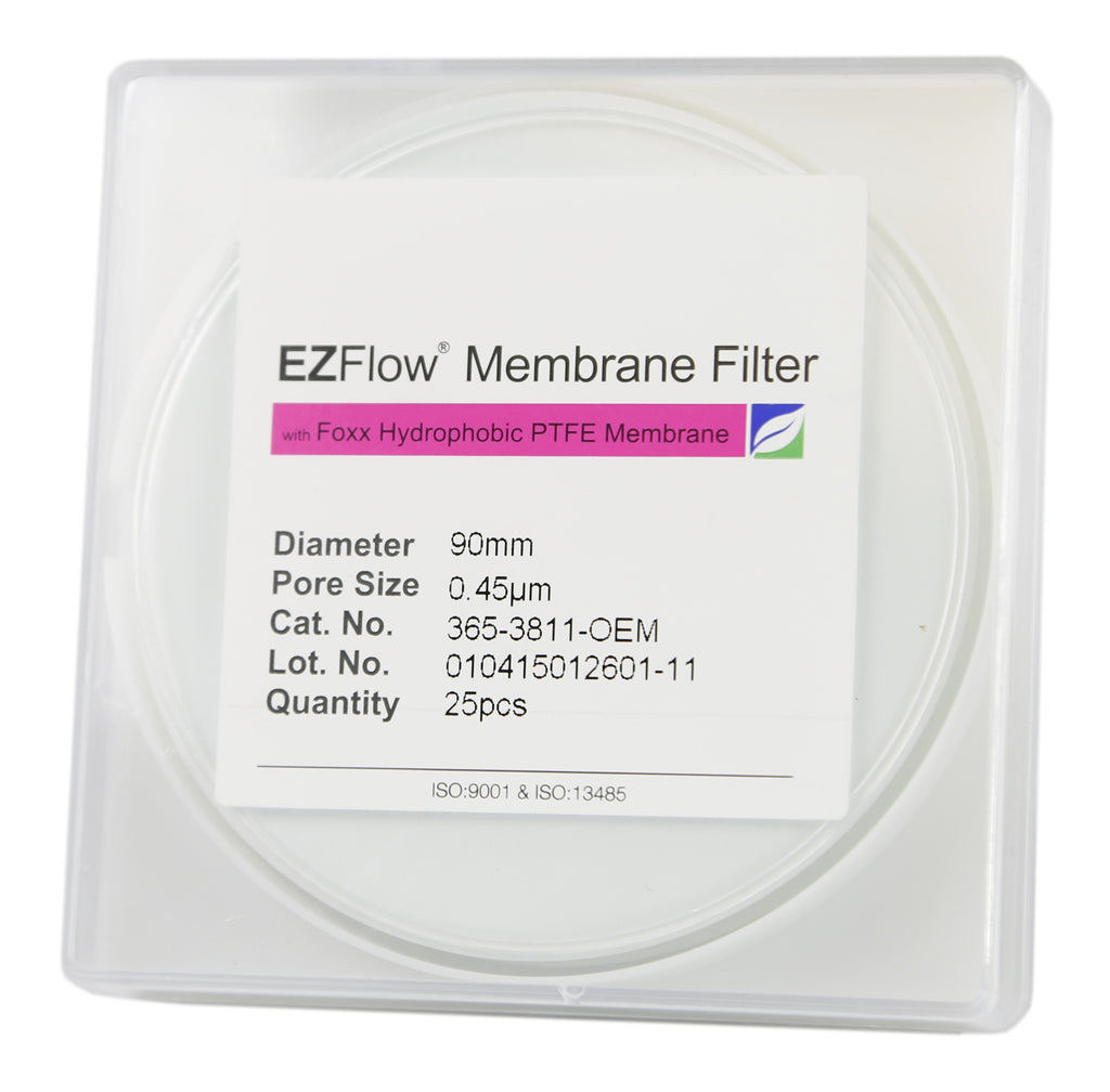 25 pack EZFlow® 90mm 0.45µm Hydrophobic PTFE Membrane Disc Filter