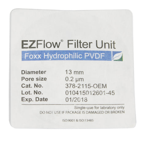 13mm Sterile Syringe Filter, .2μm Hydrophilic PVDF, 100/pack