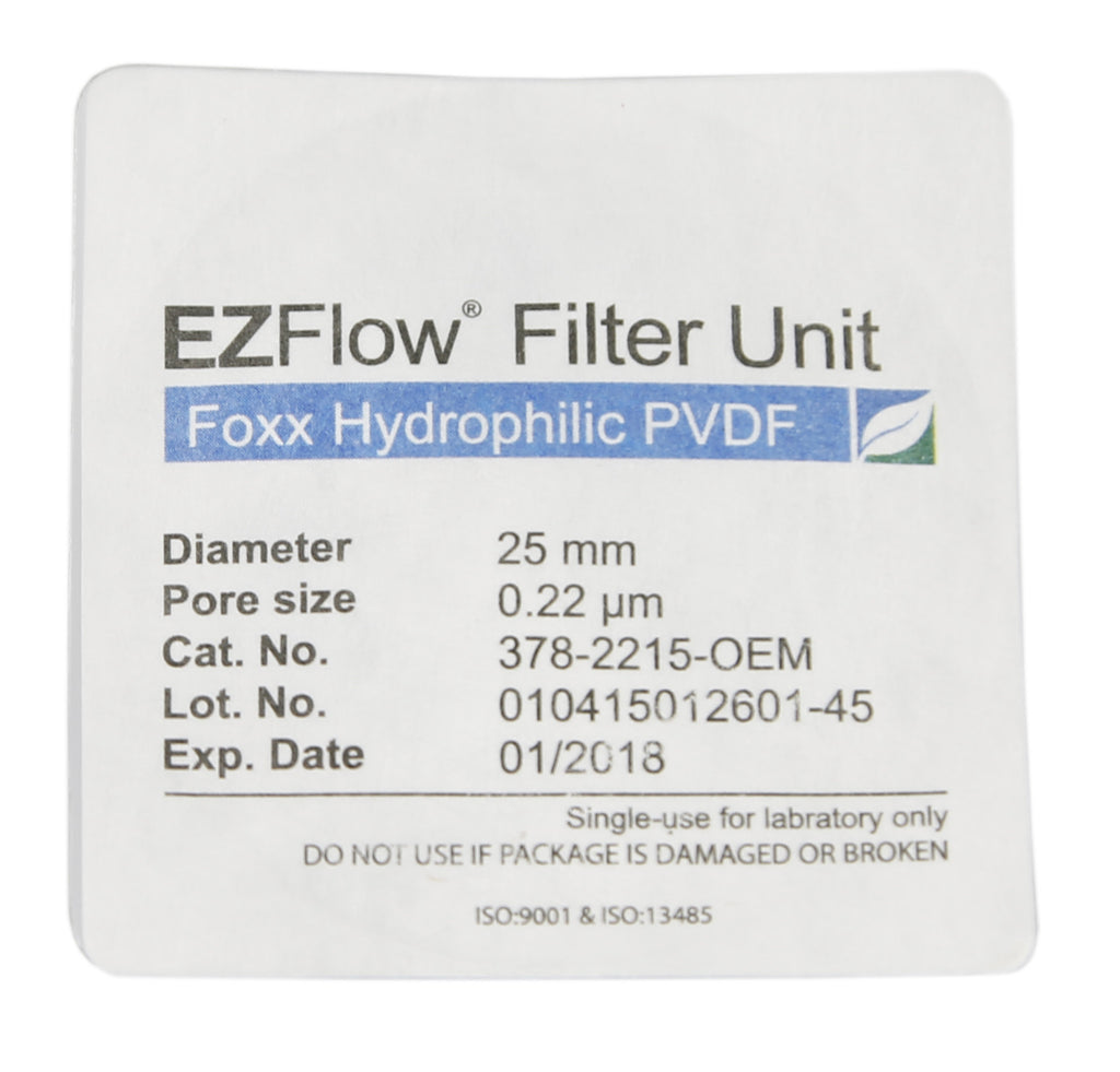 25mm Sterile Syringe Filter, .2μm Hydrophilic PVDF, 100/pack