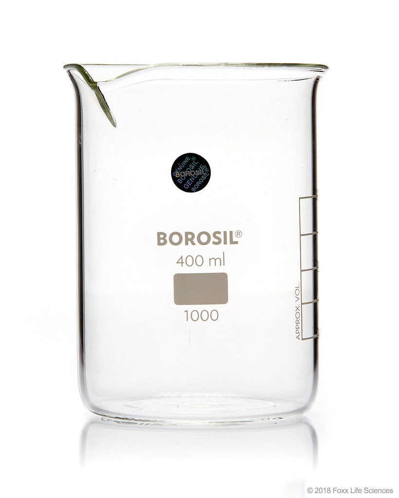 Borosil® Beaker Griffin Low Form with Spout Graduated ISO 3819 Borosilicate 400mL CS/40
