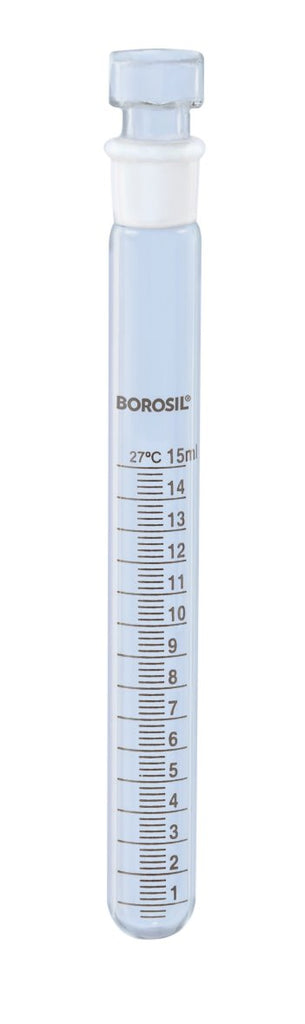 Borosil® Tubes - Test - Reusable - Graduated - Ground Glass with Stoppers - 15mL - 14/15 - CS/10