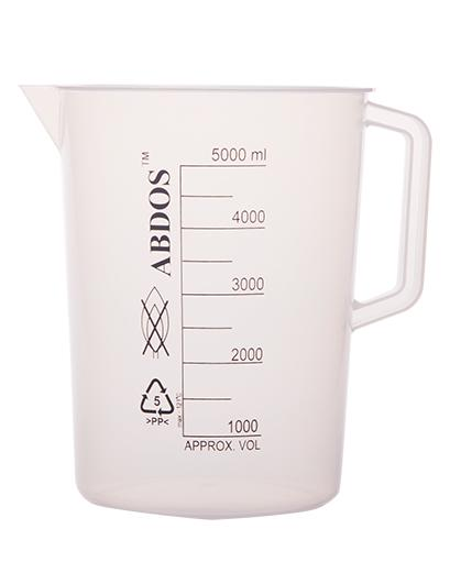 Abdos Printed Beakers with Handle, Polypropylene (PP) 5000ml, 2/CS