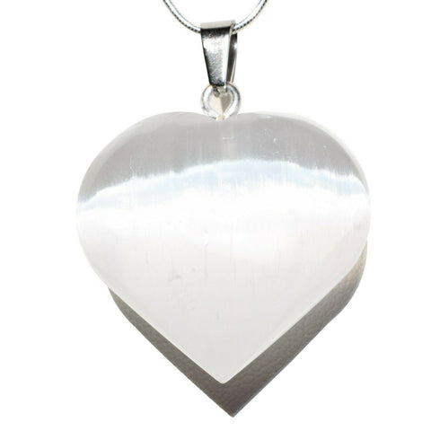 """CHARGED Himalayan Black Obsidian Crystal HEART Pendant 20/"""" Silver Chain"""