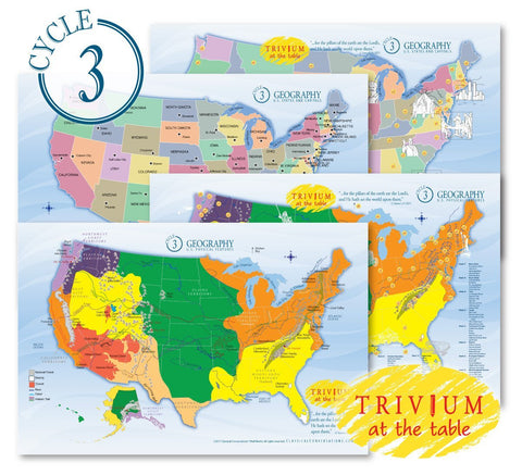 Trivium at the Table® placemats: Geography, Cycle 3 (set of 4) (Temporarily Out of Stock)
