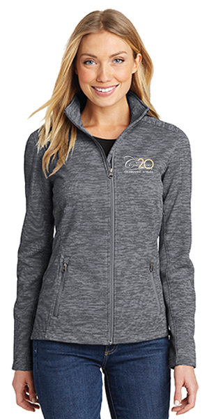 Women's Digi Stripe Fleece Jacket- Black