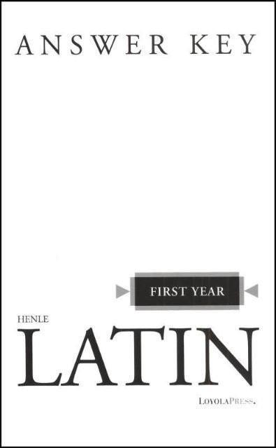 HENLE FIRST YEAR LATIN (KEY)