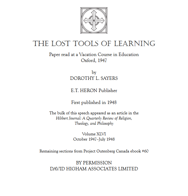 The Lost Tools of Learning (PDF)