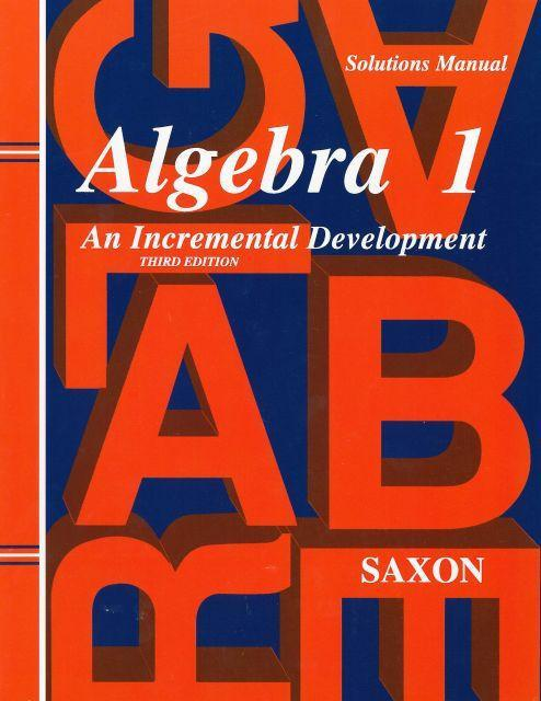 SAXON ALGEBRA 1 SOLUTIONS MANUAL