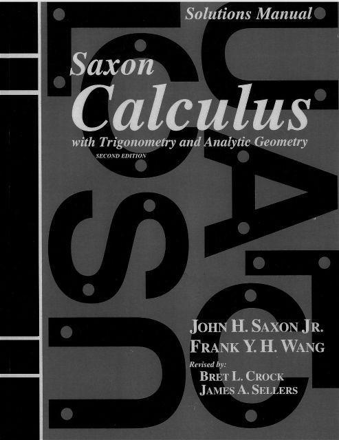 SAXON CALCULUS SOLUTIONS MANUAL