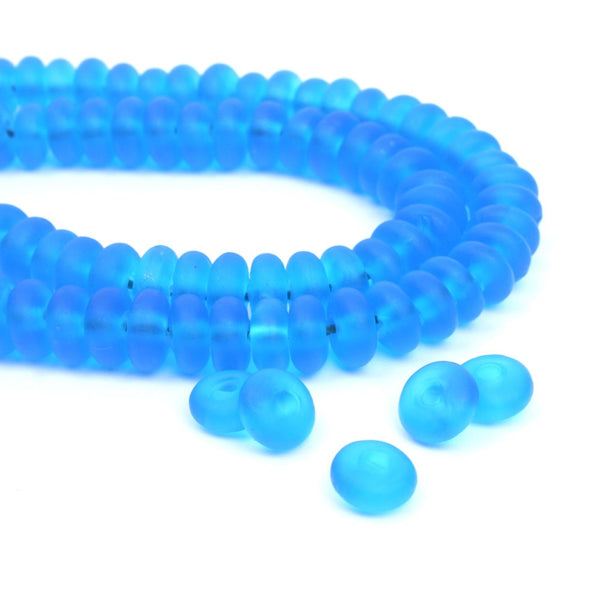 Blue Frosted Glass Spacer Beads (Lot of 50 or 100)