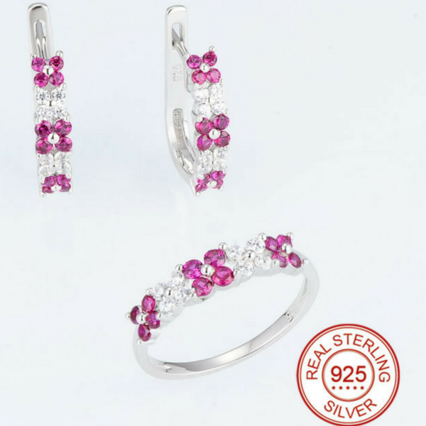 Ruby and Crystal CZ Flower Ring/Earring Set