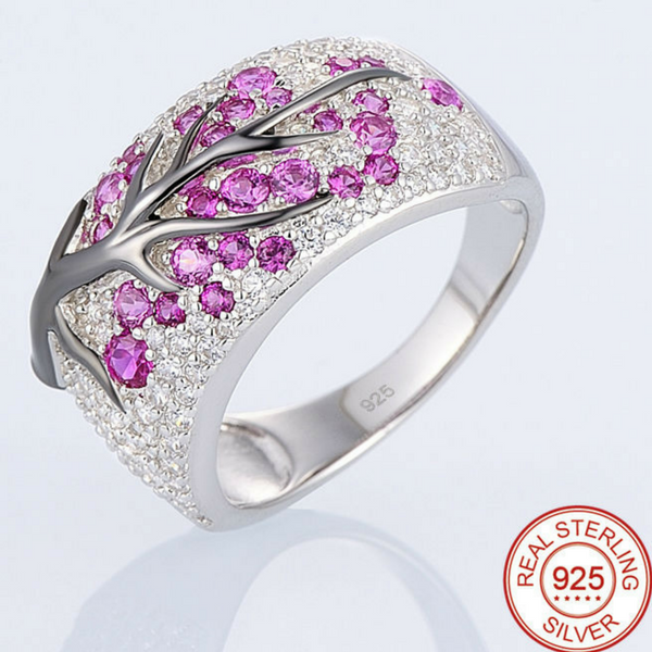 Tree Design CZ & Sterling Silver Ring