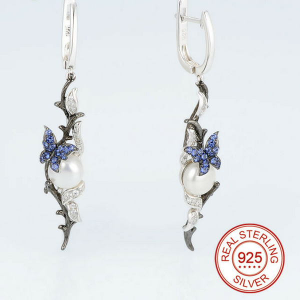 Freshwater Pearl & CZ Butterfly Drop Earrings