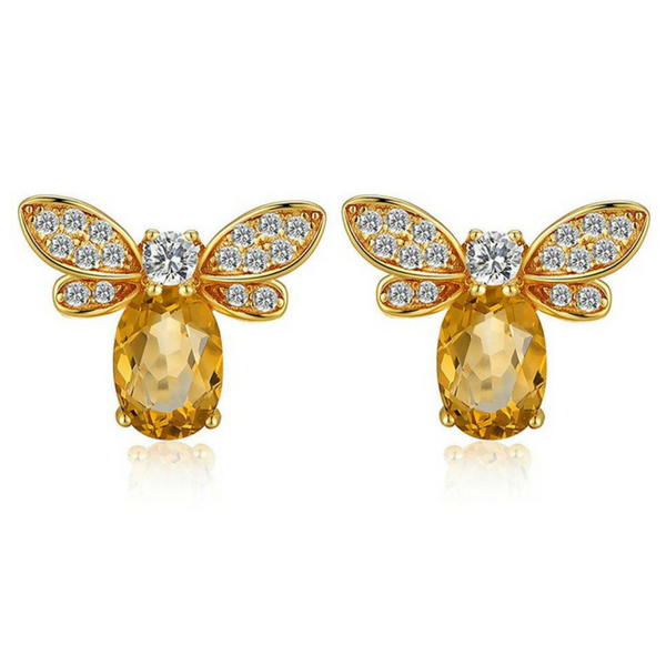 Natural Citrine Honeybee Earrings