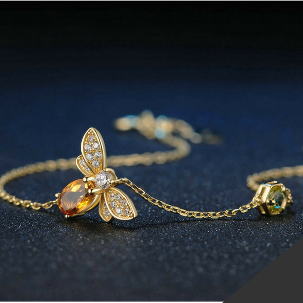 Natural Citrine Honeybee Bracelet