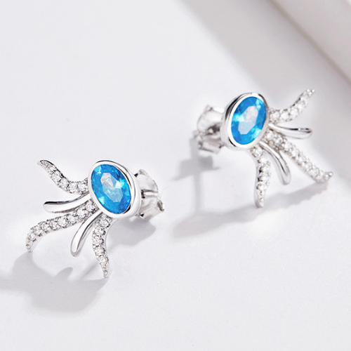 Blue Octopus Earrings