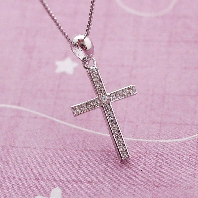 Silver and CZ Cross Necklace