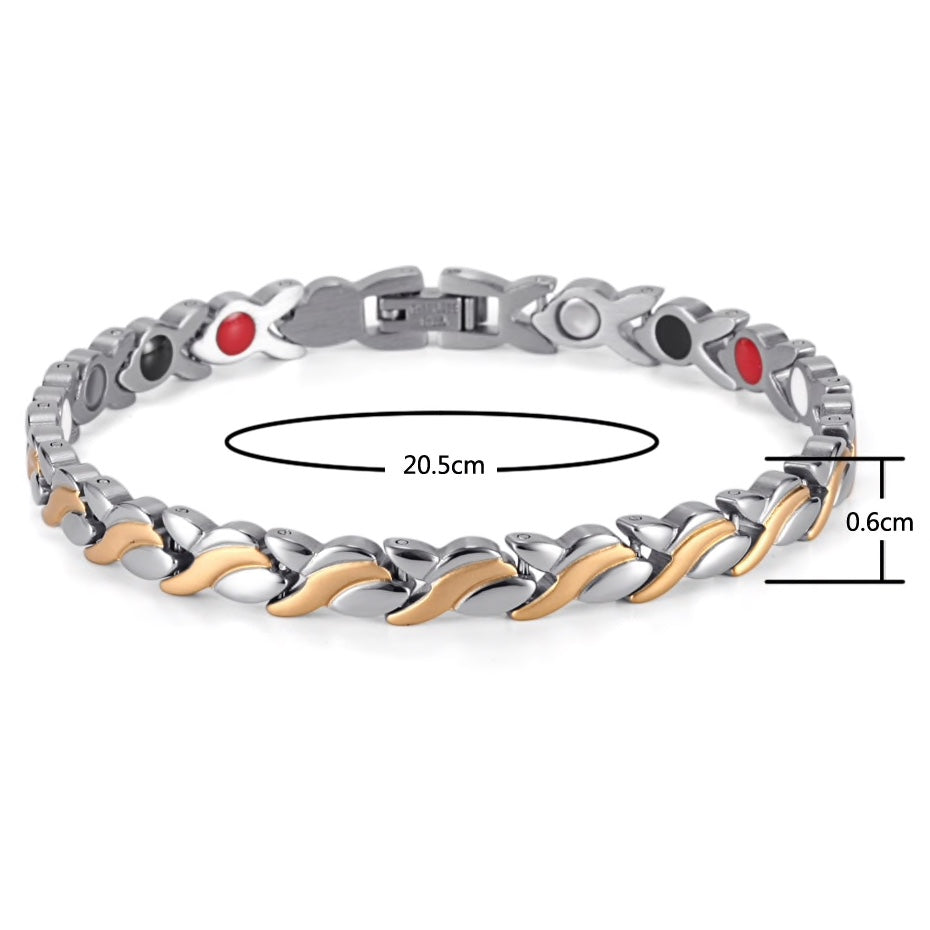 Healing Magnetic Bracelet -Stainless with Gold Accents