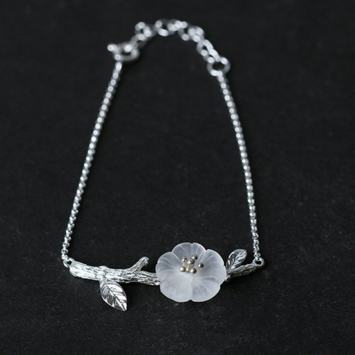White Skeleton Flower Bracelet