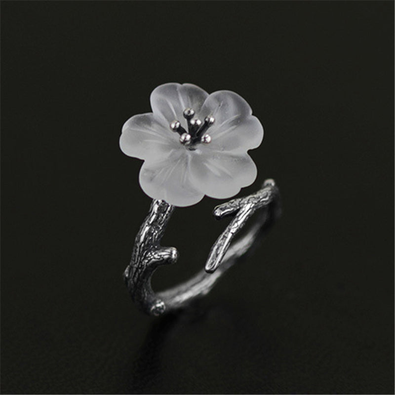 White Skeleton Flower Ring