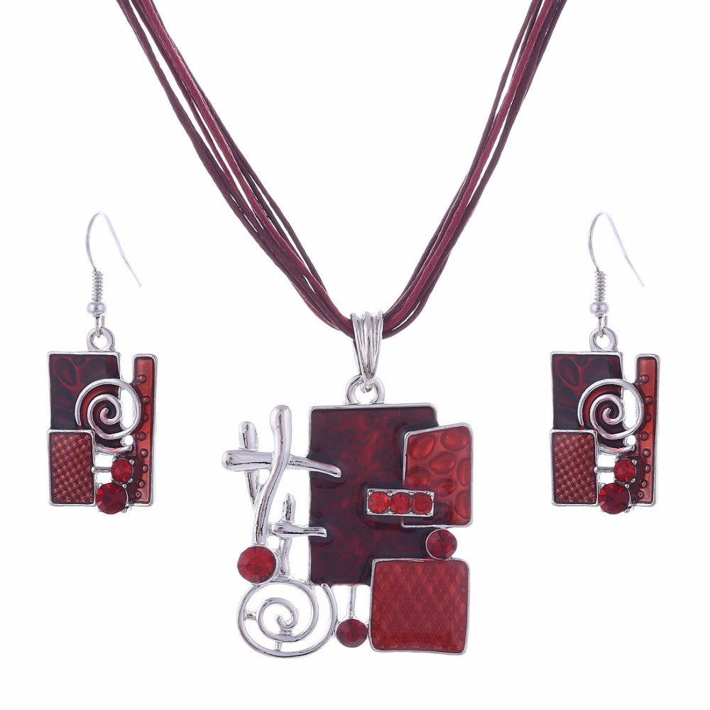 Geometric Enamel Jewelry Set