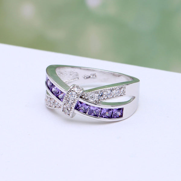 Amethyst and Clear CZ Wrap Ring