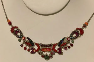 Ayala Bar Necklace - Red, Gray, & Silver
